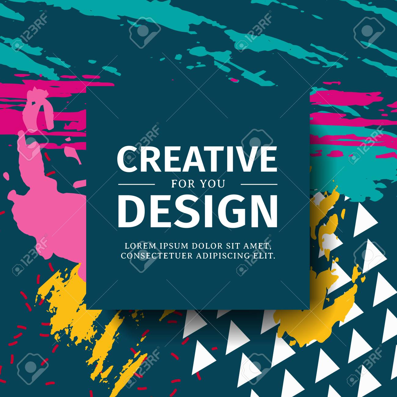 Template Design Square Banner With Pop Texture Background Poster
