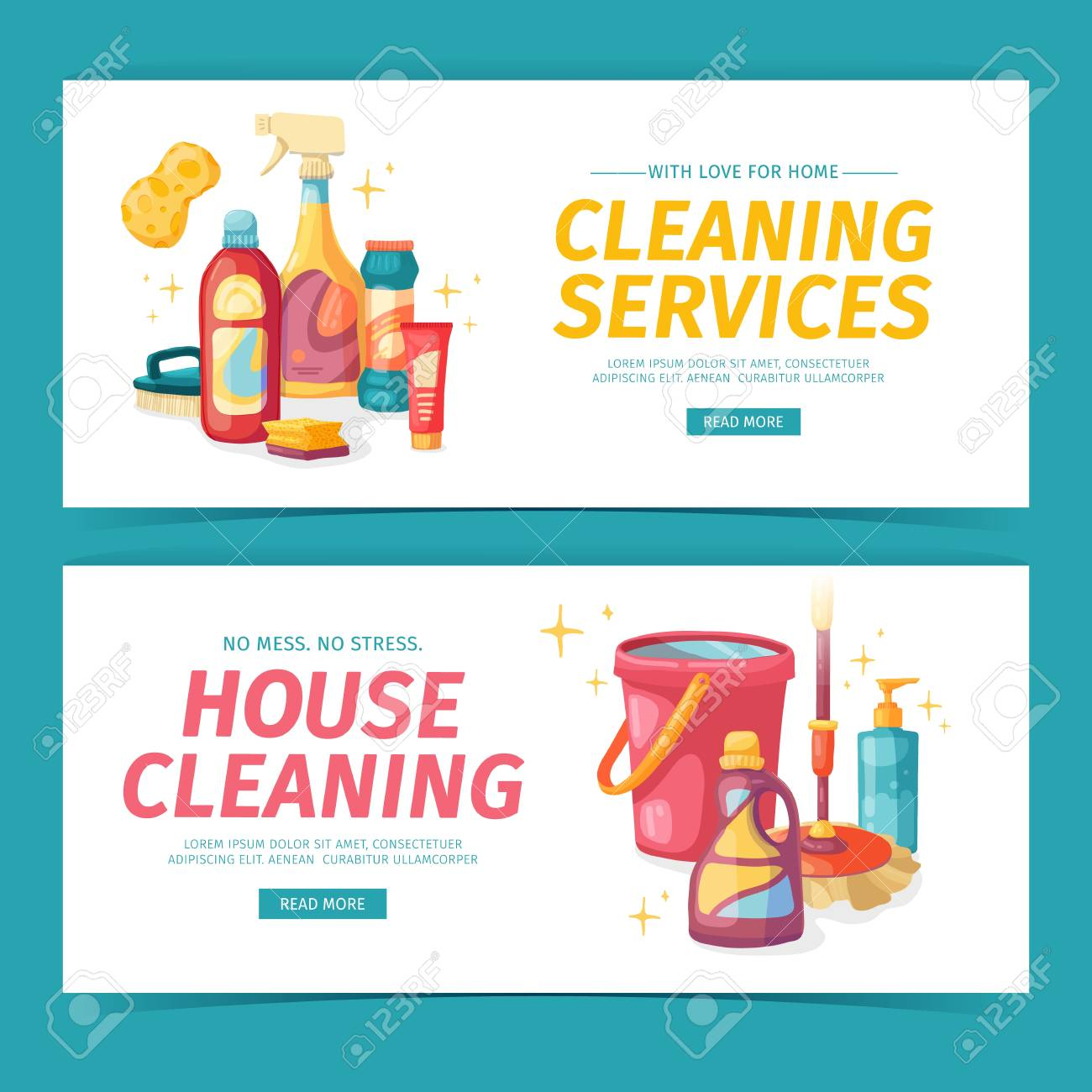 Set design banner House cleaning with cleaning products. Cartoon..