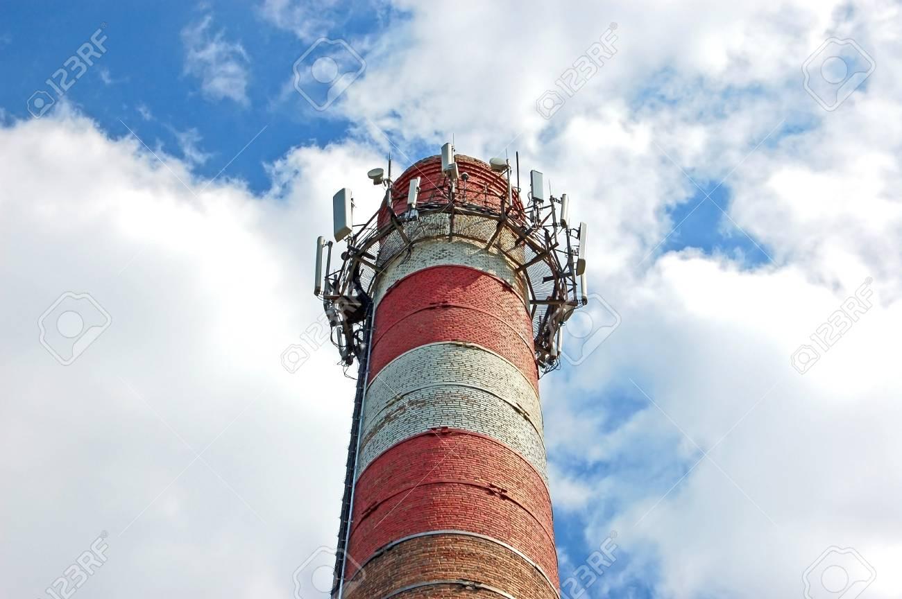 Transceiver for mobile phone on boiler chimney Stock Photo - 12778885