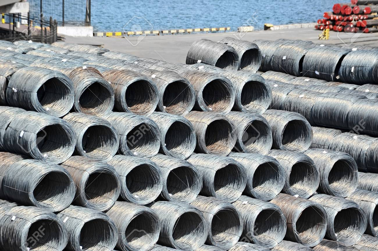 Stacked steel wire roll ready for shipment in port Stock Photo - 21165481