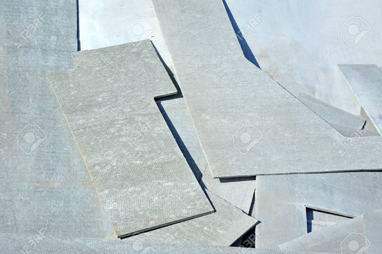 Carved Asbestos Cement Wallboard On Construction Site Stock Photo