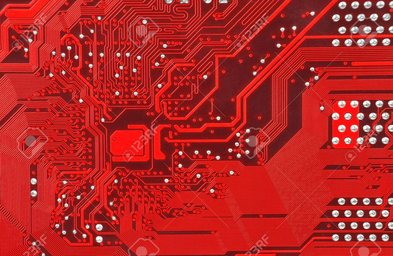 Close Up Of Old Printed Red Computer Circuit Board Stock Photo Electronic Royalty Free Image 77275395