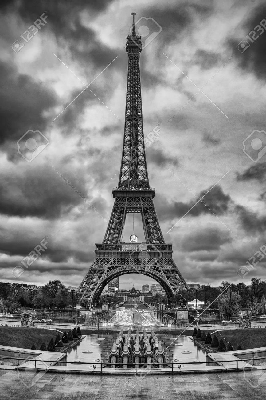 Eiffel tower tour eiffel in paris france black and white photo stock