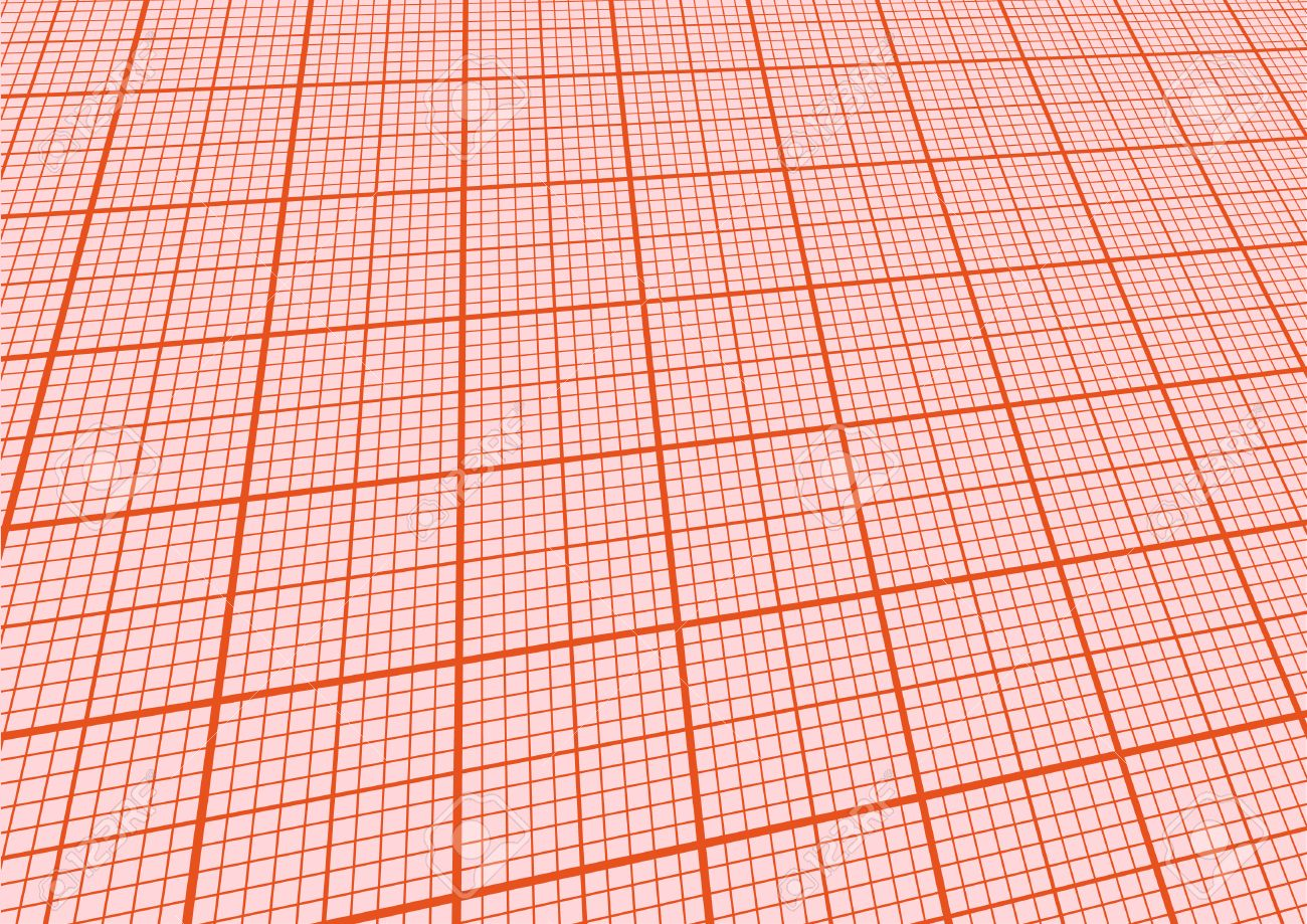 Illustration Of A Sheet Graph Paper With Perspective Stock Vector