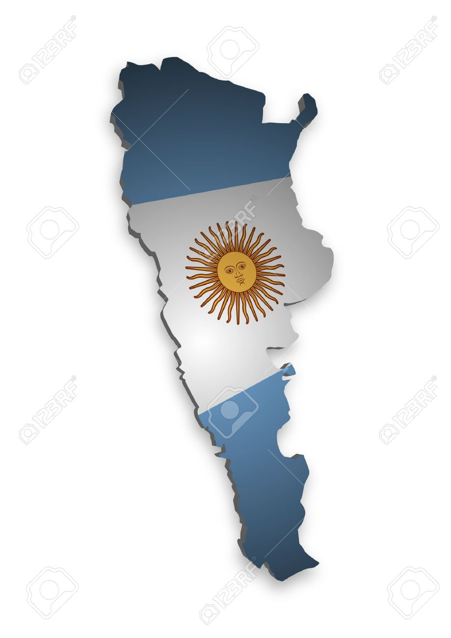 D Outline Of Argentina With Flag Stock Photo Picture And Royalty - Argentina map outline