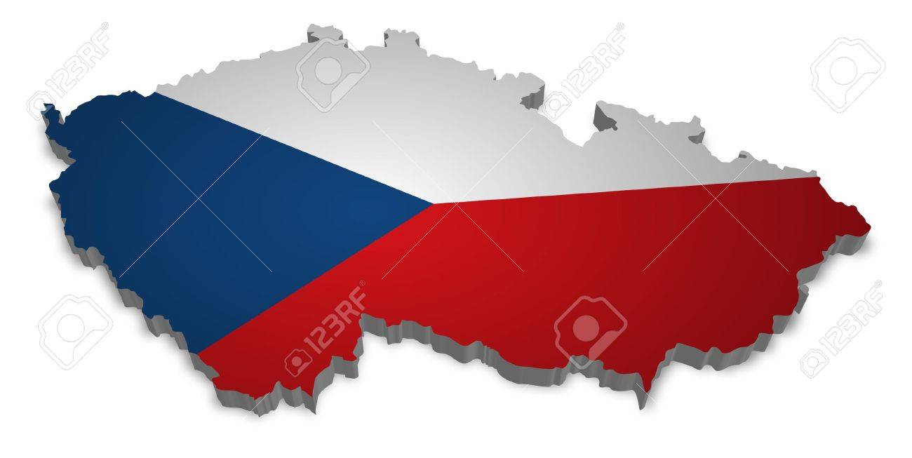 3D outline of Czech Republic with flag Stock Photo - 8625298
