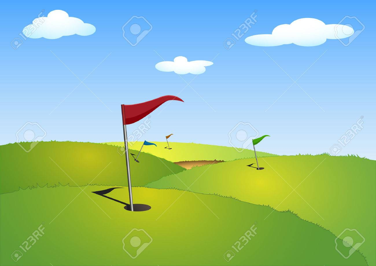 illustration of a green golf course with flags - 8787616