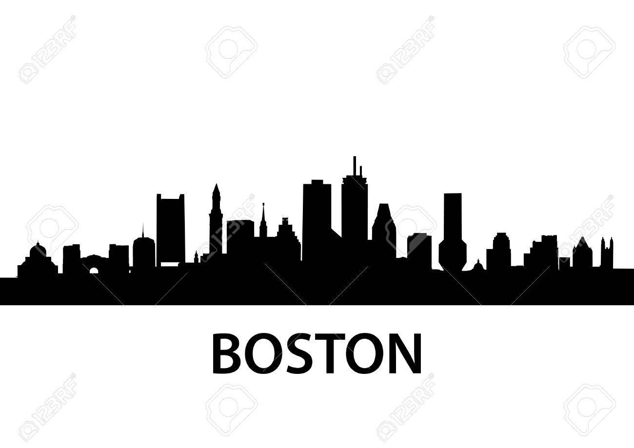 detailed silhouette of boston massachusetts royalty free cliparts rh 123rf com Boston City Skyline Silhouette New York Skyline Vector