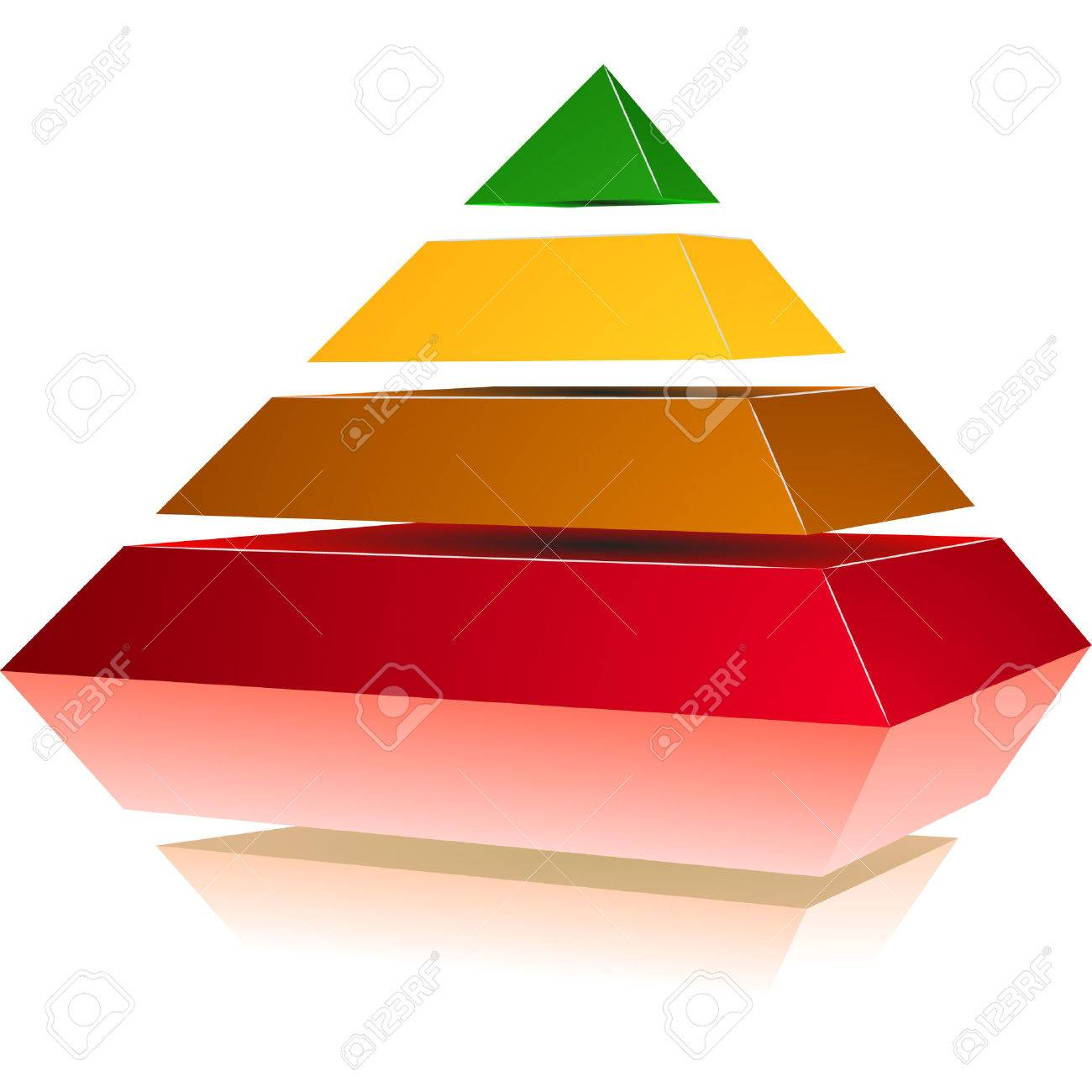 illustration of a pyramid with four colored levels Stock Vector - 8986623