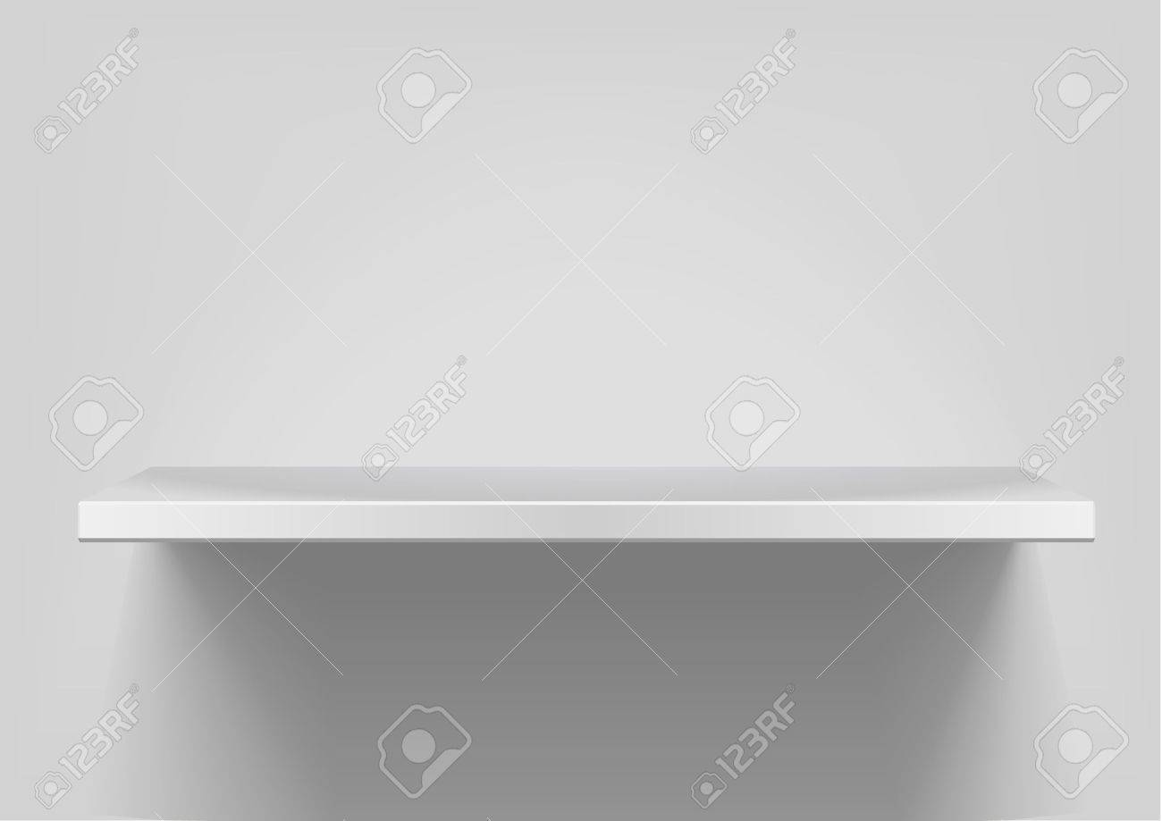 detailed illustration of white shelf with light from the top Stock Vector - 9979383