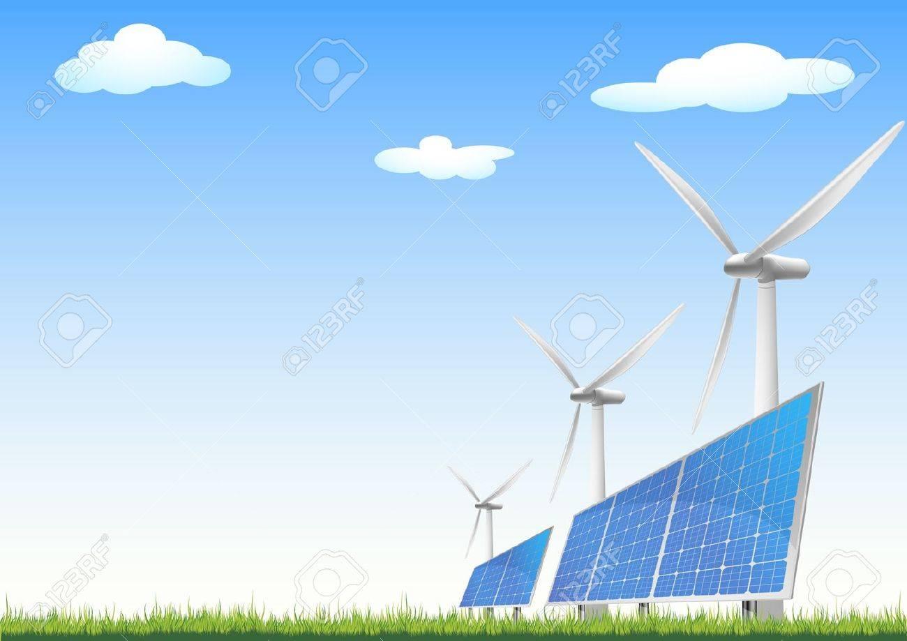 青い空と緑のフィールド上の風力発電と太陽電池パネルのイラストの