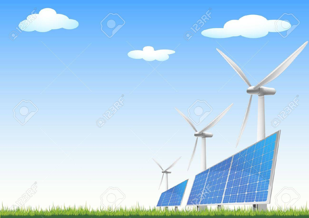 illustration of panels with solar cells and wind generators on a green field with blue sky Stock Vector - 10095727