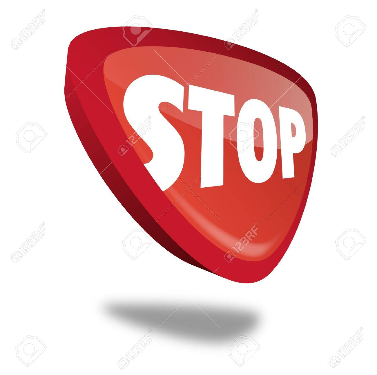 red stop button with perspective Stock Photo - 10269505