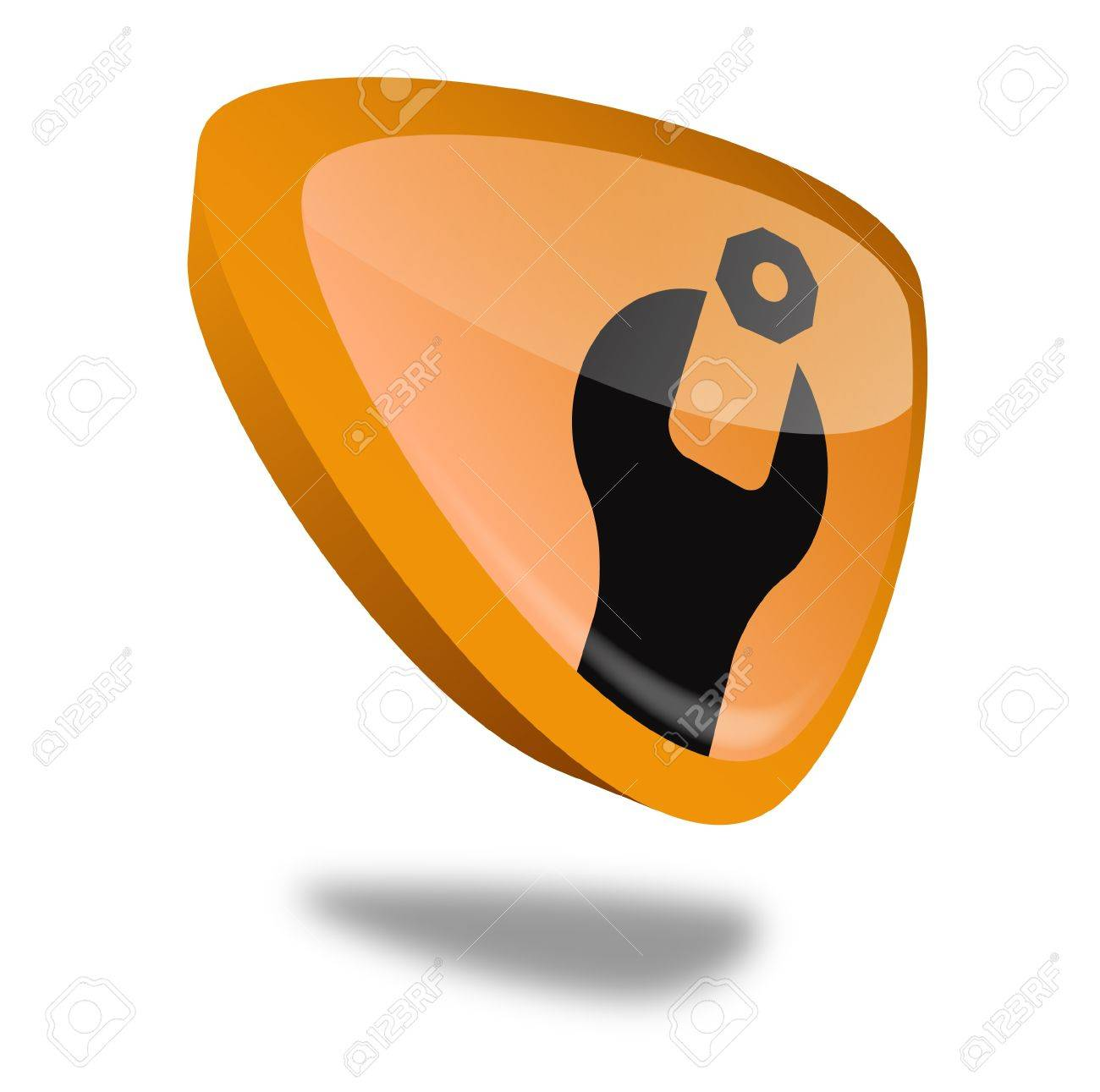 orange maintenance button with perspective Stock Photo - 10269503
