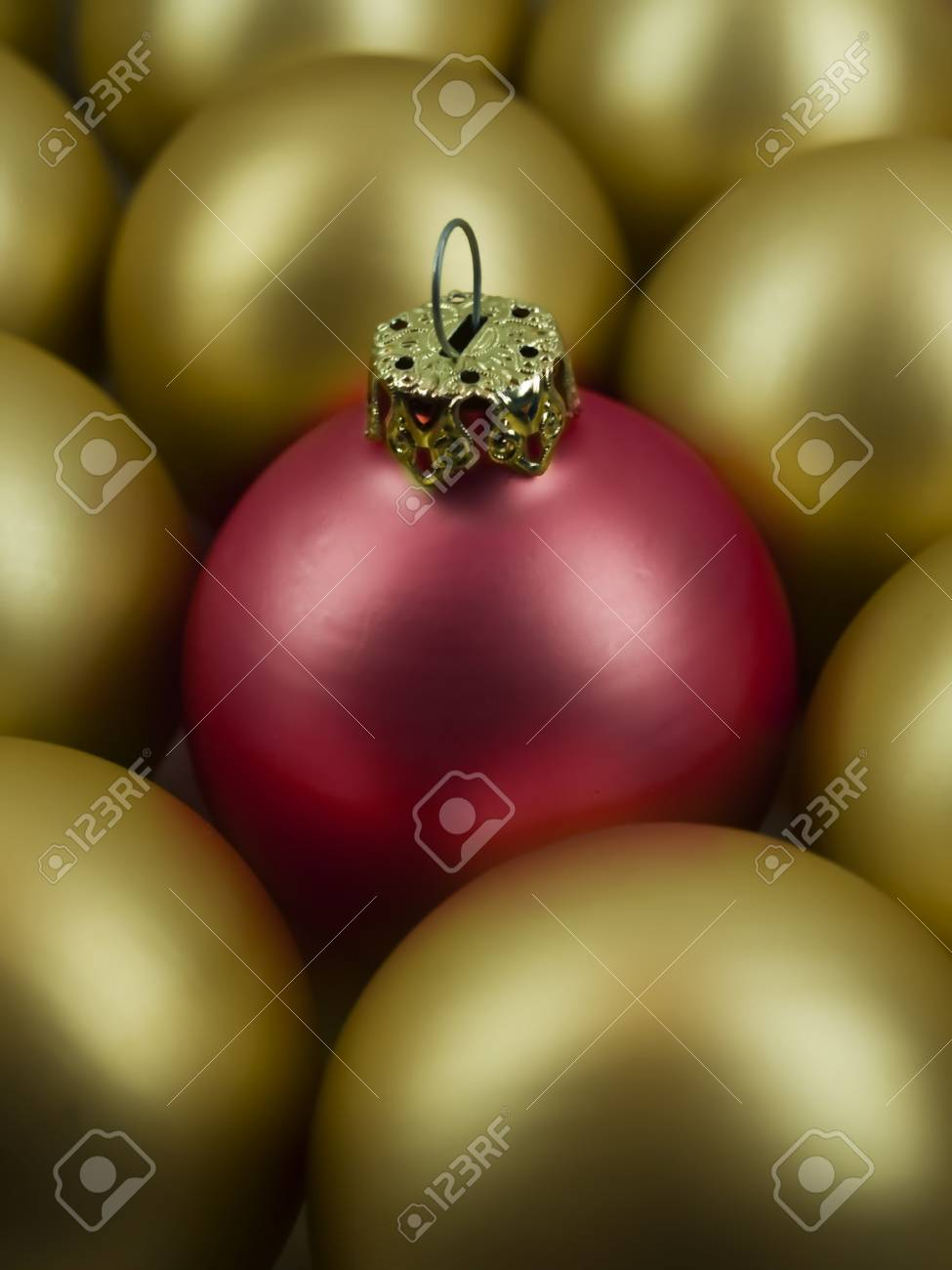 focus on a red christmas ball Stock Photo - 10930557