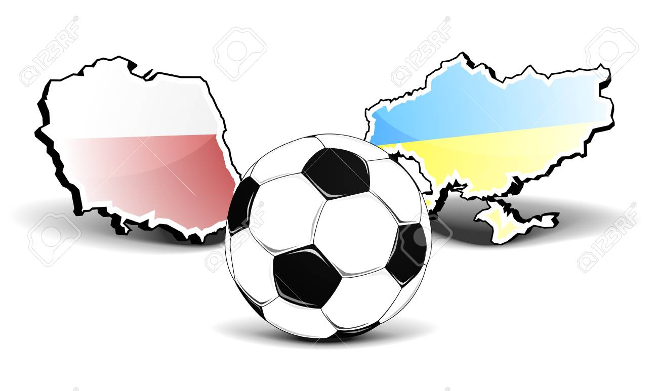 maps of poland and ukraine with a football in front, european football championship 2012, eps8 vector Stock Vector - 11498124