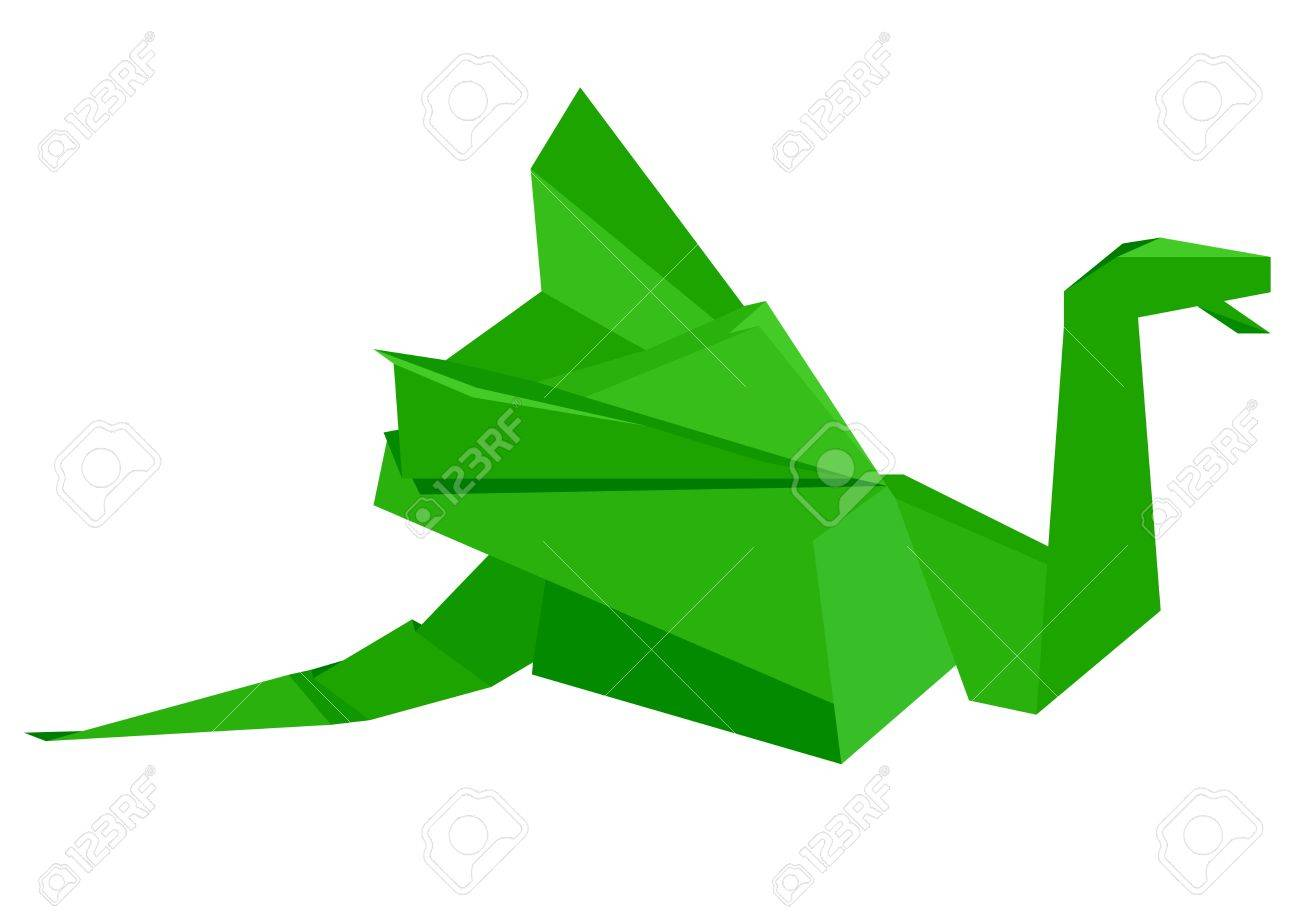 illustration of a green origami dragon figure, eps8 vector Stock Vector - 11498144
