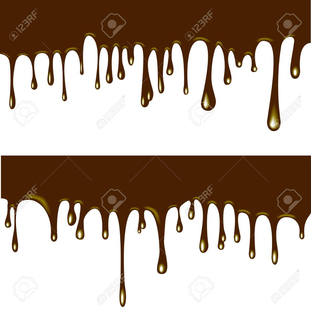 Illustration Of Flowing Chocolate Drops On White Background ...