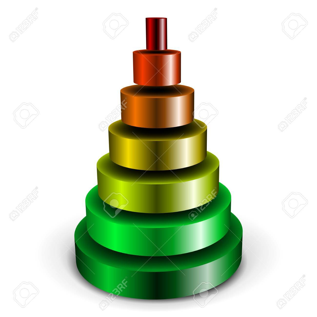 illustration of a sliced metallic cylinder pyramid filled with different colors Stock Vector - 12163563