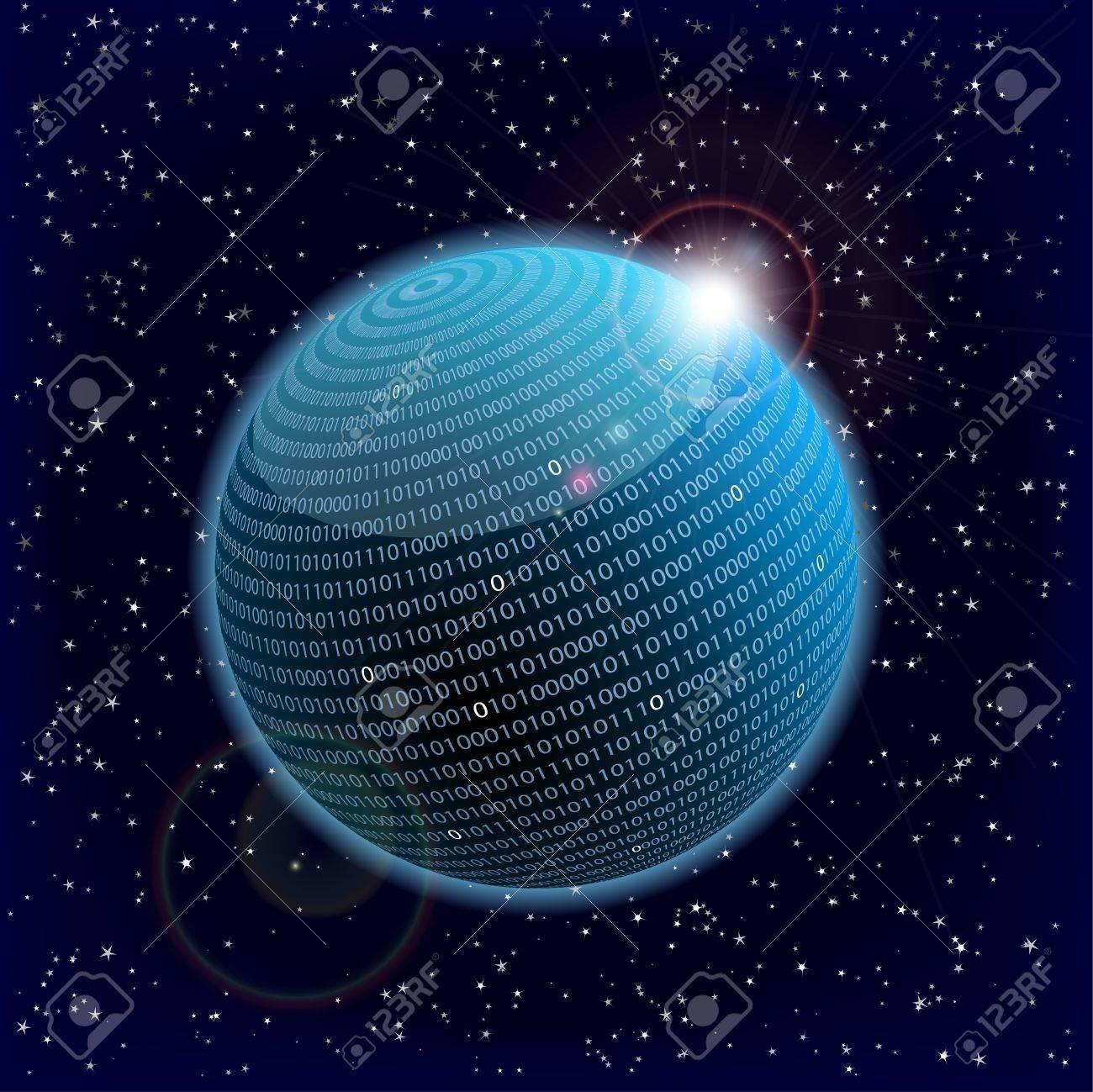 illustration of a binary data information sphere Stock Illustration - 12163569