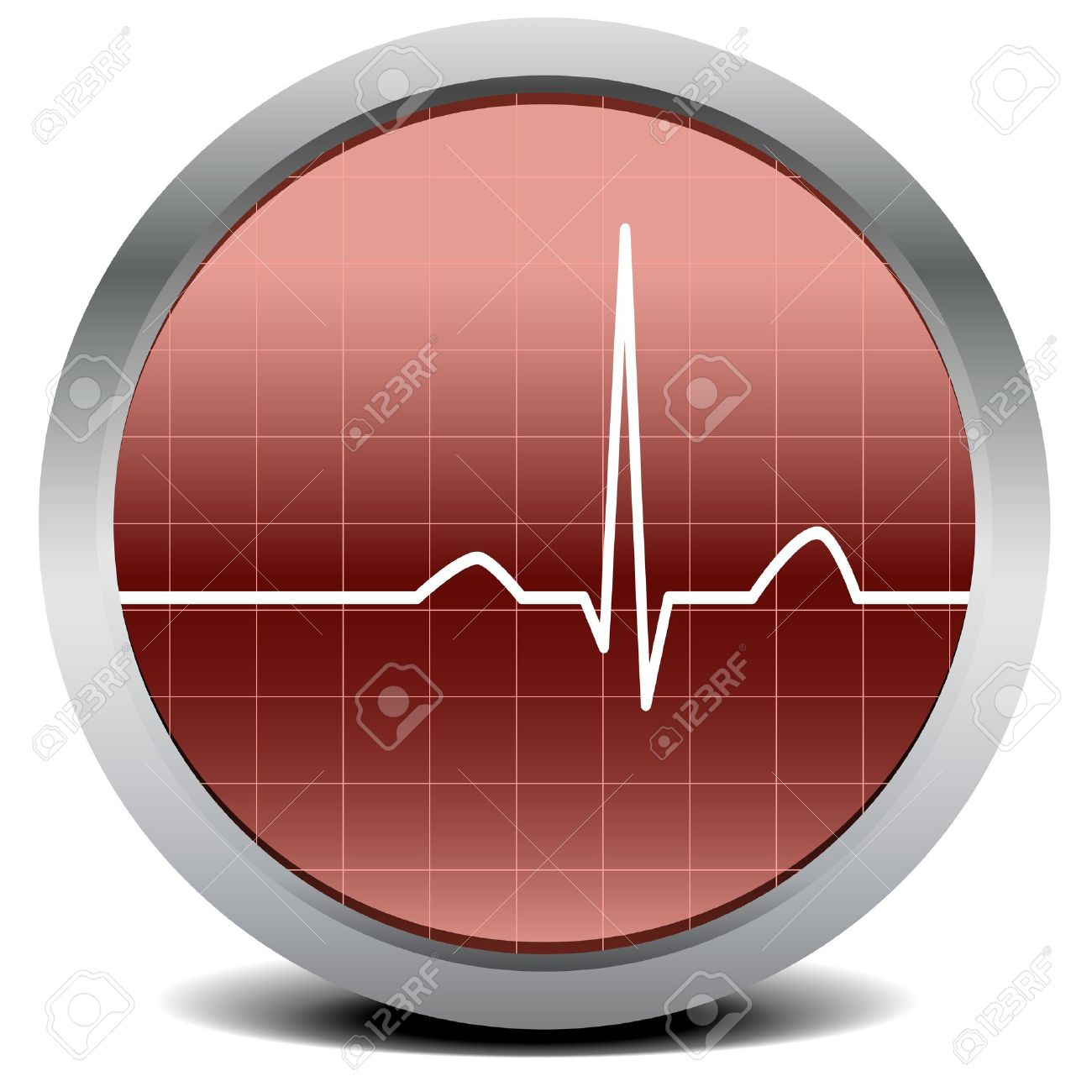 illustration of a round heart beat monitor with signal Stock Vector - 13496393