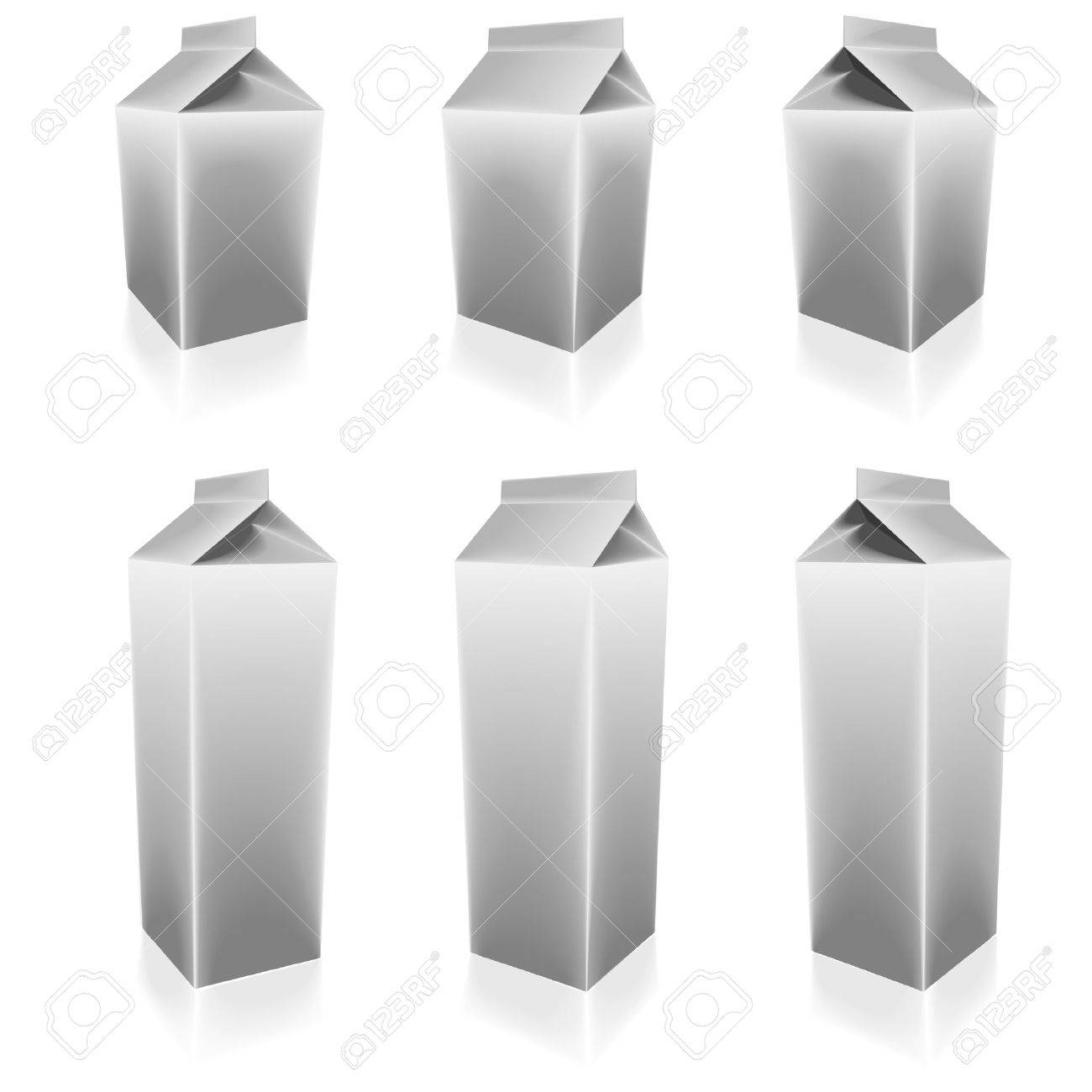 illustration of a set of blank milk packs with different sizes and angles Stock Vector - 14189735