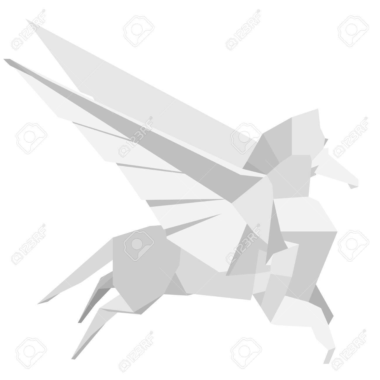 Illustration Of An Origami Pegasus Royalty Free Cliparts Vectors