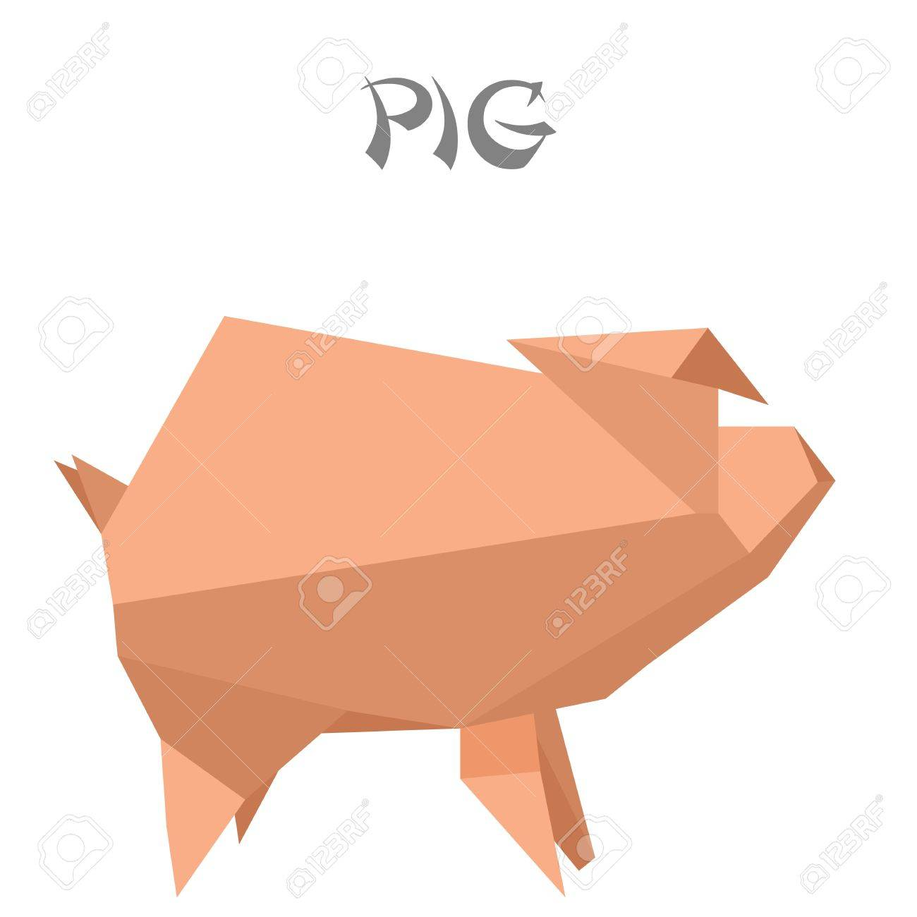 illustration of an origami pig Stock Vector - 14969749