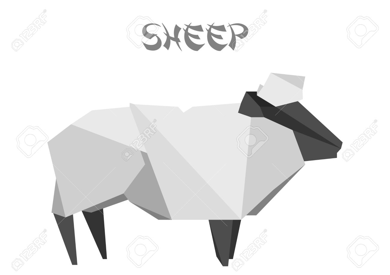 Illustration Of An Origami Sheep Stock Vector