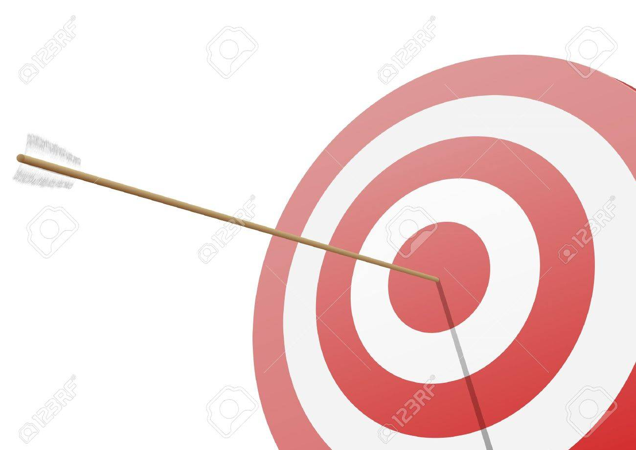 illustration of a red target with an arrow hitting the center Stock Vector - 15797219