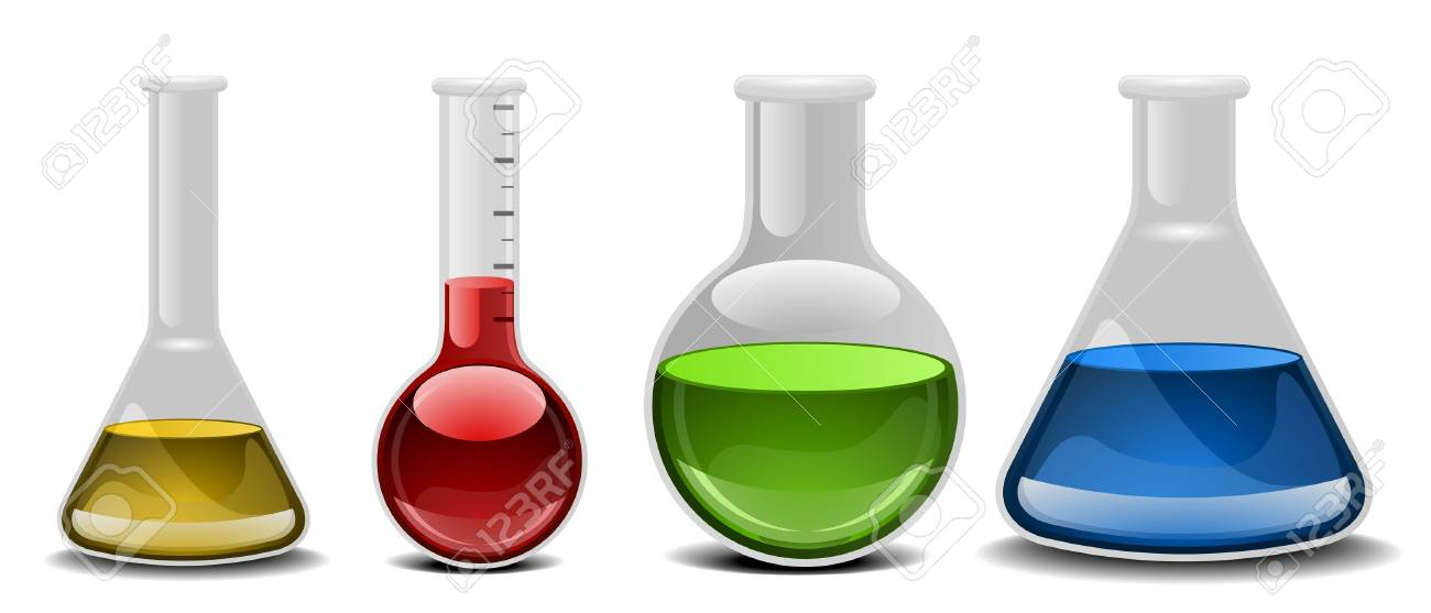 illustration of glass flasks with different liquids Stock Vector - 16784399