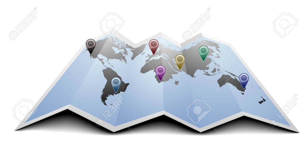 World Map Gps.Illustration Of A World Map With Gps Symbols On Folded Paper Royalty