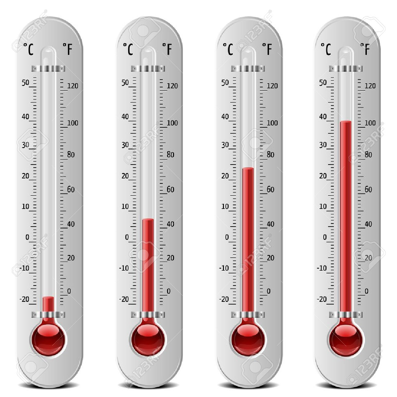 illustration of thermometers with different levels Stock Vector - 16784410