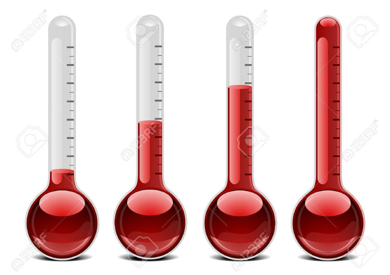 illustration of red thermometers with different levels Stock Vector - 16784395