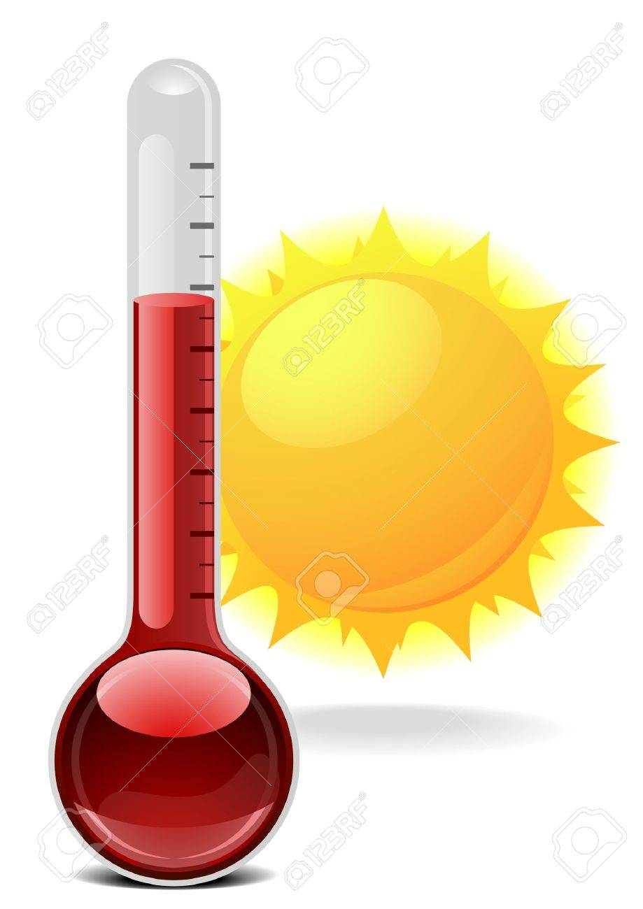 illustration of a thermometer with a sun Stock Vector - 16784391