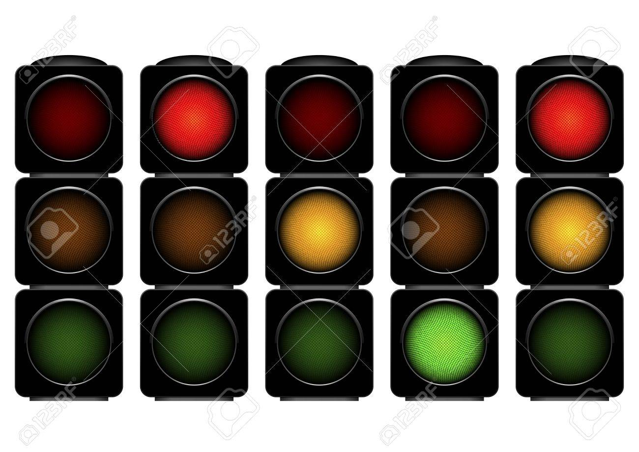 detailed illustration of traffic lights with different activated lights Stock Vector - 16784416