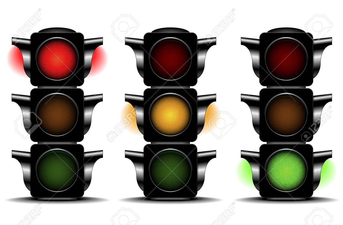 detailed illustration of traffic lights with different activated lights Stock Vector - 16784415