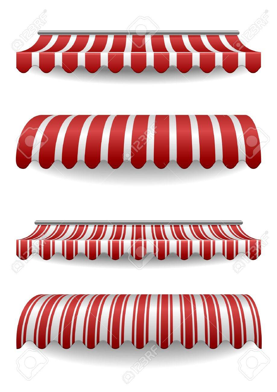 detailed illustration of set of striped awnings - 17020283