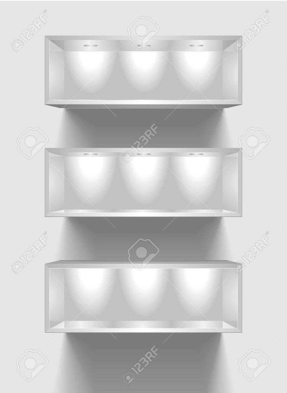 detailed illustration of exhibition shelves with light sources Stock Vector - 17020286
