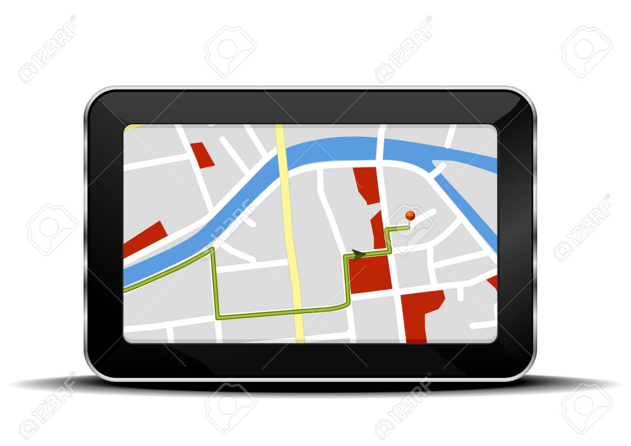 detailed illustration of a tablet mobile pc with a navigation map Stock Vector - 17020282