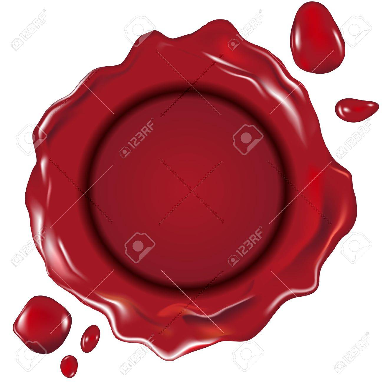 detailed illustration of a red wax seal, gradient mesh included - 17020300