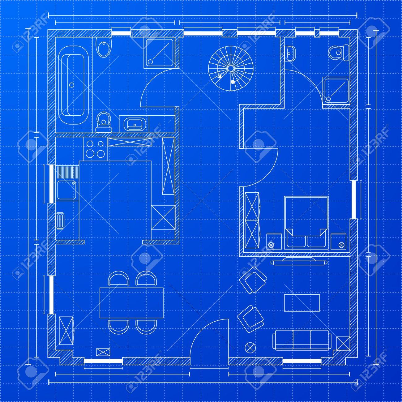17754552 Detailed Illustration Of A Blueprint Floorplan Stock Vector Blueprint House Blue House Blueprint On Blueprint