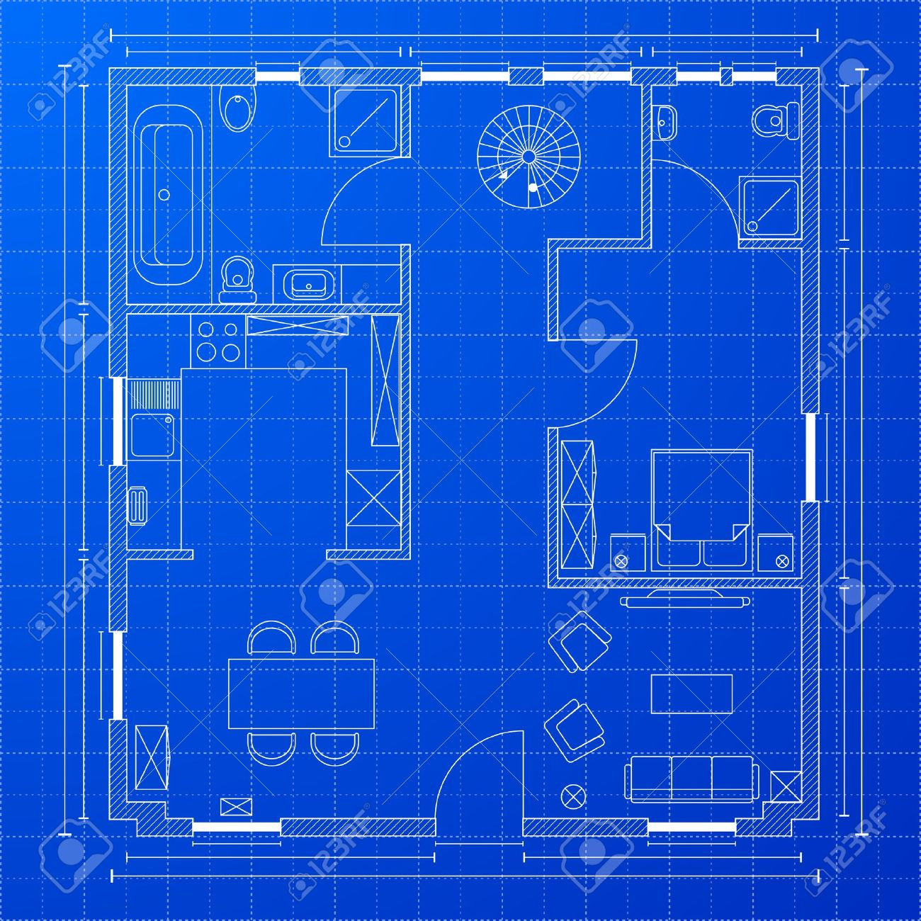 Detailed Illustration A Blueprint Floorplan Royalty Free