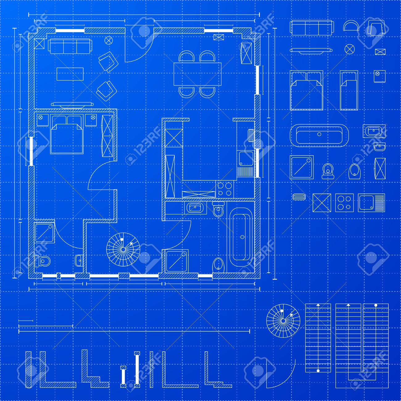 Vector detailed illustration of a blueprint floorplan with various design elements