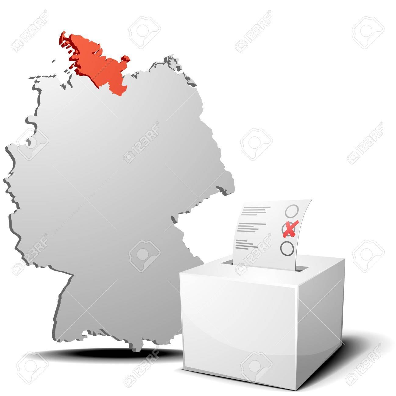 detailed illustration of ballot box in front of a 3D outline of Germany with a red marked province Schleswig-Holstein Stock Vector - 17753692