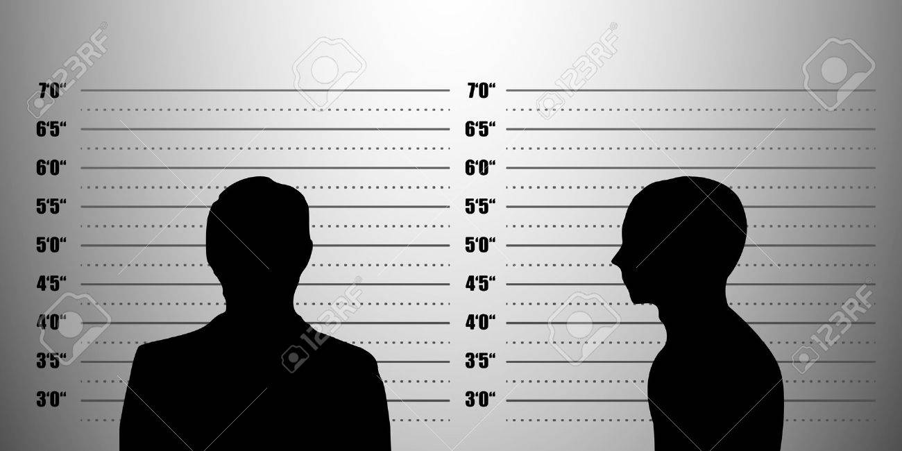 detailed illustration of a mugshot background with a portrait and profile silhouette, inch scales Stock Vector - 18689595