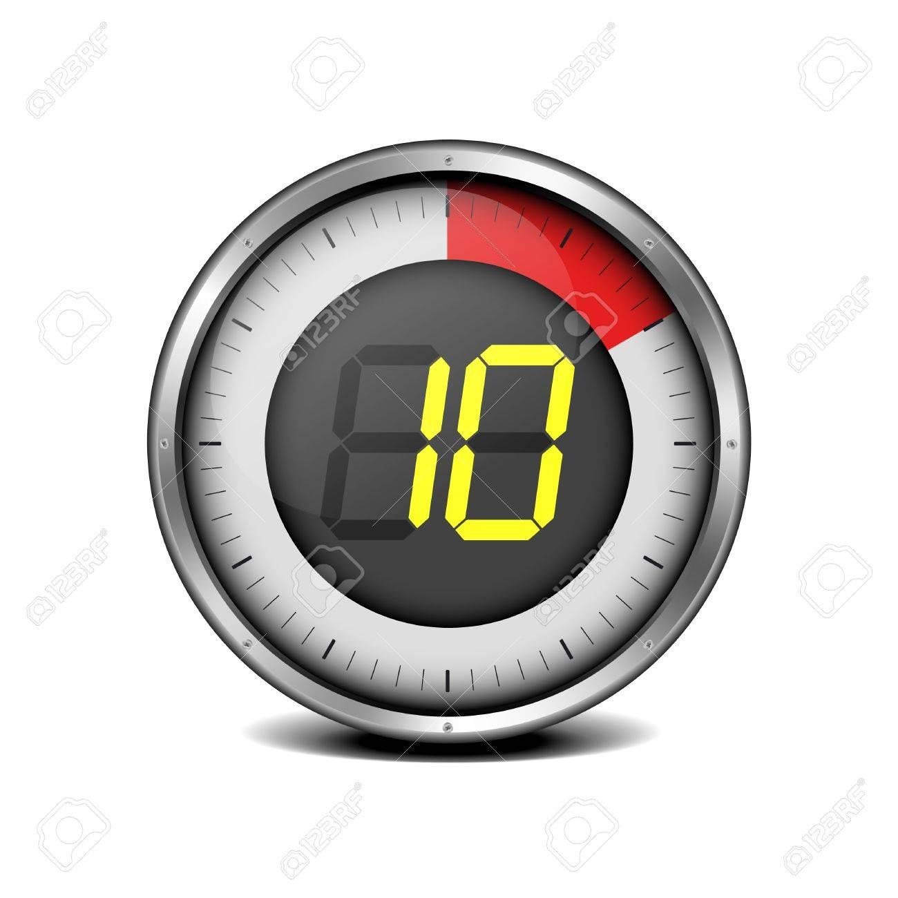 illustration of a metal framed timer with the number 10 - 18689667