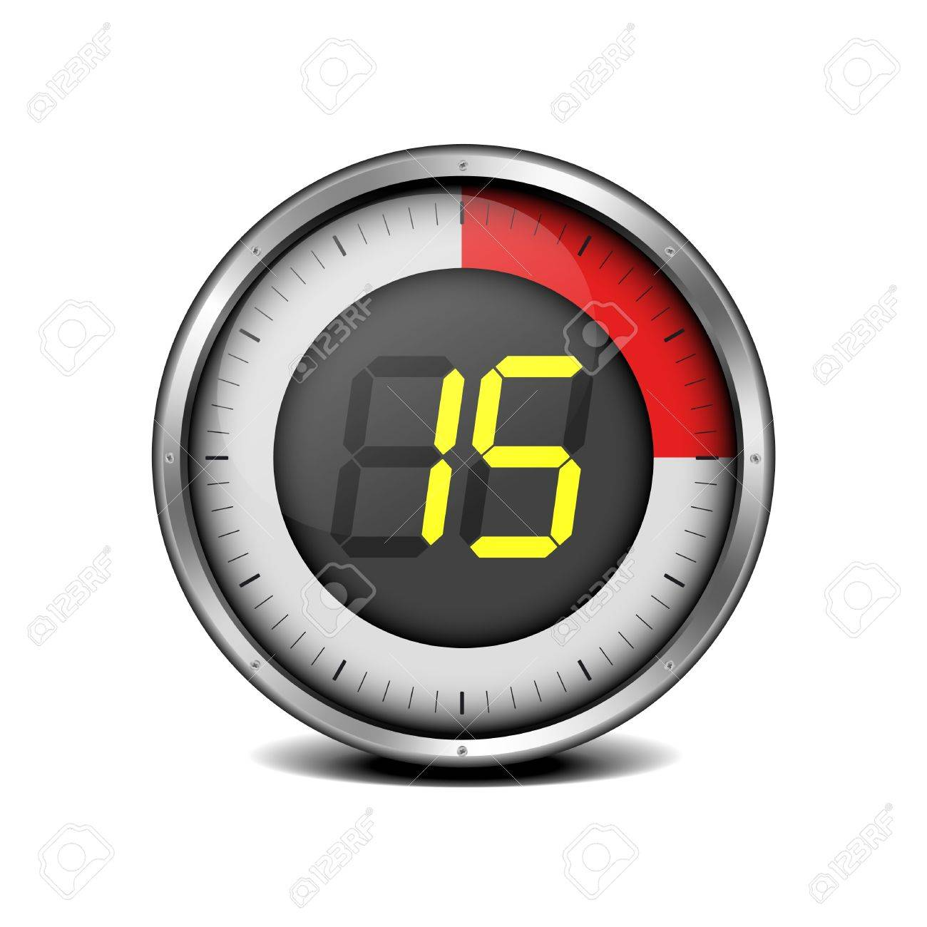 illustration of a metal framed timer with the number 15 - 18689660