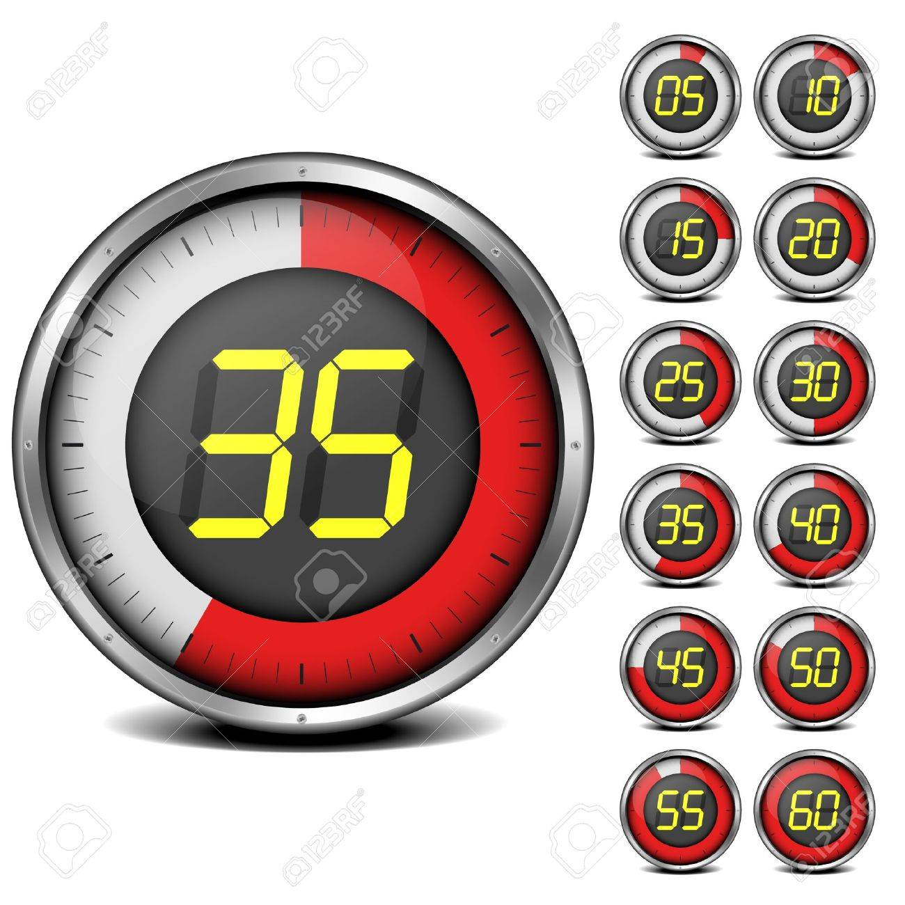 illustration of a set of metal framed timers with easy changeable numbers - 18689708