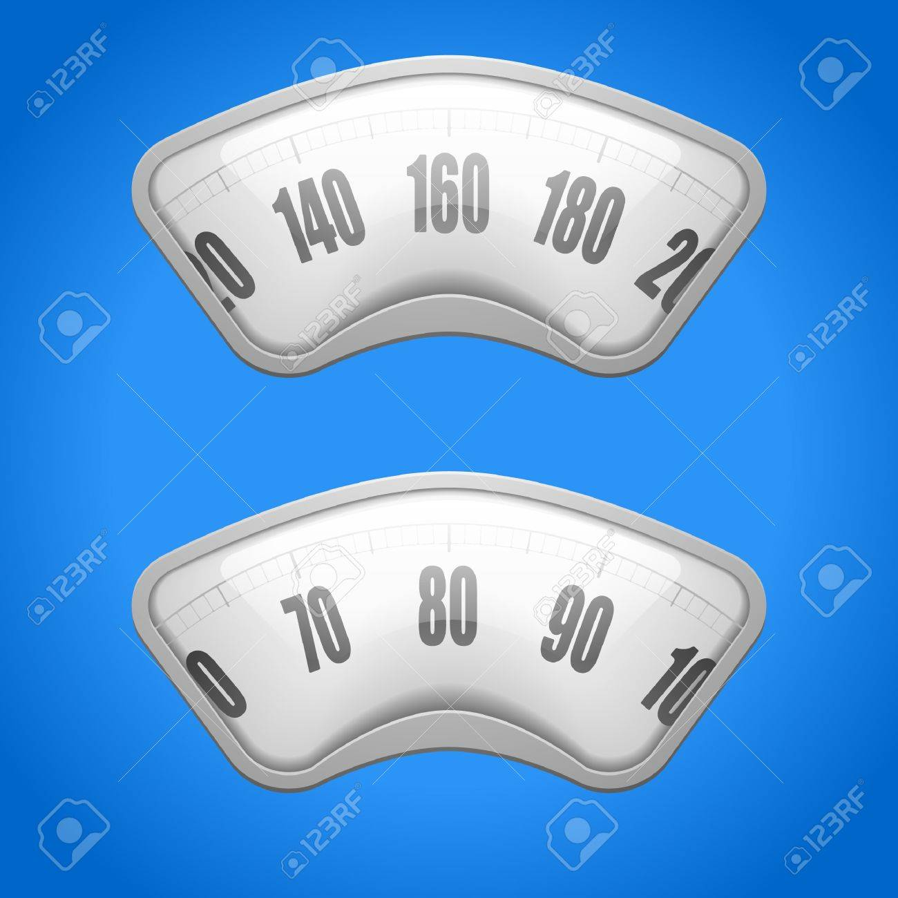 detailed illustration of weighing scales on a blue background Stock Vector - 18689596